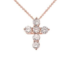 Rose Gold Cross Elegant Pendant Necklace (MIniTinyX-SmallSmall)