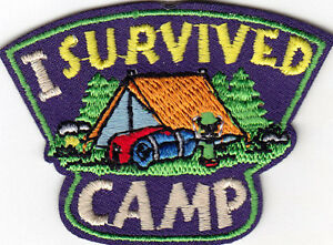 I SURVIVED CAMP Iron On Patch Scouts Cub Girl Boy Camping Camper