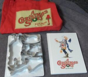 A Christmas Story Apron Hardcover Recipe Book Cookie Cutters Leg Lamp Gift Set