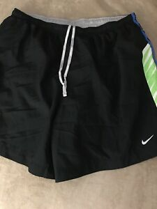 NIKE Dri-Fit RUNNING Shorts MENS Size XL Black Multi Color Lined Inseam 5""