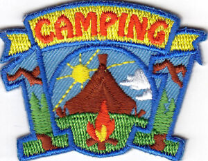 CAMPING Iron On Patch Scouts Girl Boy Cub Camper Vacation