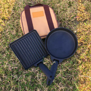 2pcsSet Cast Iron Camping Detachable Steak Cooking Frying Pan + Carry Case Bag