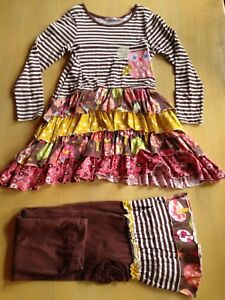 Jelly The Pug Dress Pants Combo Size 8 Brown Pink Red White Owl 9075