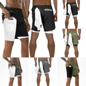 Men's Running Sport Shorts Stretchy with Built-in Pocket Liner Shorts 2 in 1 USA