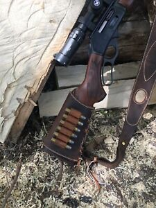 Custom leather stock wrap for Marlin model 1895 45-70 with 6 bullet loops!!!!