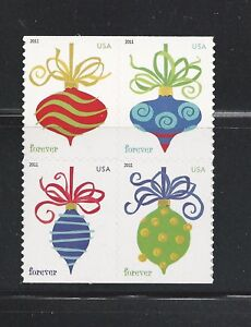 2011 #4574a Holiday Baubles Block of 4 with APU printing #4571-74