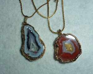 2 Agate Necklace Pendants Gold Plated Bezel with chain