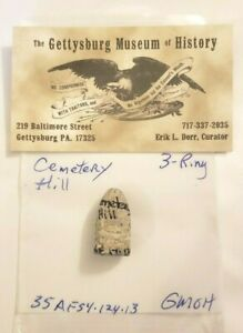 Original 3 Ring Bullet Recovered From Cemetery Hill Gettysburg PA
