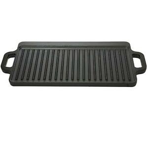 CAST IRON GRIDDLE Small Black Durable Reversible Camping Cookware Accessory New