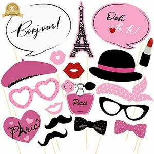 18PCS Paris Photo Booth Props French Ooh La Party Supplies Themed For Birthday