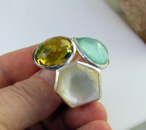 Estate Colorful  IPPOLITA  Rock Candy Three Stone Sterling Silver Cluster Ring