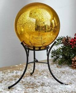 Mercury Glass Lighted Gazing Ball with Stand & Timer