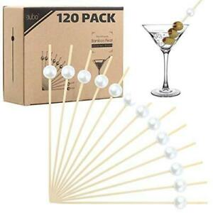 Bamboo Cocktail Picks Skewers Toothpicks - 120 Pack White Pearl 4.75 inch Wooden