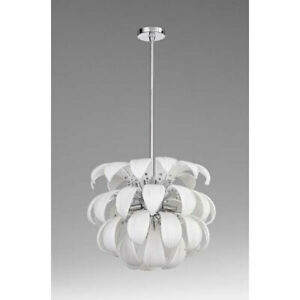 Contemporary White Glass 6 Light Entry Pendant Foyer Kitchen Lighting
