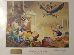 Disney Carl Barks Donald Duck Signed Lithograph Menace Out of the Myths 79100