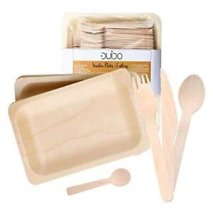 Disposable Wooden Cutlery Utensils Set – Pack of 60 12 10.5 inch Plates 12 For