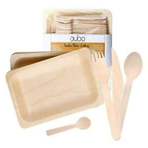 Disposable Wooden Cutlery Utensils Set – Pack of 270 55 10.5 inch Plates 55 Fo