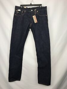 "$420 RRL Dark Slim Fit ""Once Washed"" Japan Selvedge Denim Jeans USA Made 34x32"