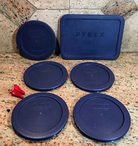 Set of 6 Pyrex Blue Round & Rectangle Covers for Glass Bowls