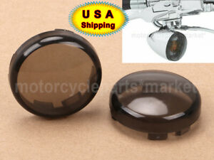 Smoke Turn Signal Lens Covers Kit Fit For Harley 02-18 Bullet Dome Style Blinker