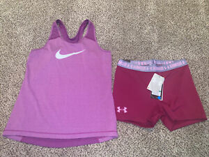 Nike Dri Fit New Under Armour Girl's Youth XL Shorts Shirt Lot Women's XS