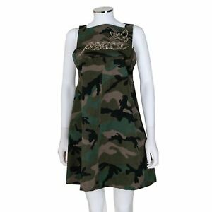 Valentino Camouflage Dress with 'Peace' and Butterfly Embellishment - Size 6