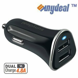 12V Dual USB Car Charger 4.8 Amp High Speed Fast For Phone Samsung iPhone HTC LG