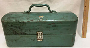 Tackle Box My Buddy Green Metal Vintage Tackle Included Latch Handle 15quot; Trays