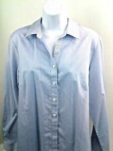 Coldwater Creek Womens Blue Long Sleeve (Roll-Up) Button Down Blouse Size L (14)