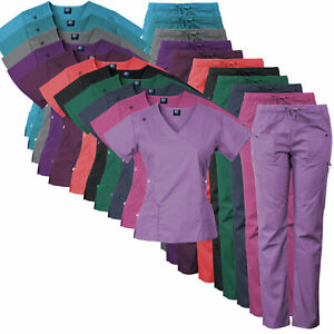 Medgear 14 Pocket Women's Stretch Medical Scrubs Set with Silver Snap Buttons