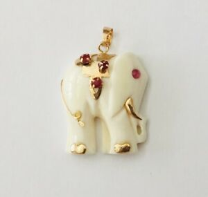 Vintage 14K Yellow Gold Antique Bone & Ruby  Elephant  pendant for necklace  NEW