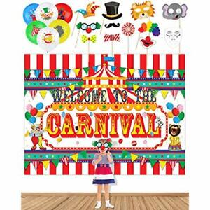 Circus Carnival Banner Backdrop,20 Balloons 11 Photo Booth Props For Party Toys