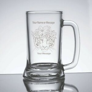 Engraved Customized Personalized Beer Mug Glass Female Tiger Design