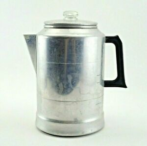 Large 20 Cup Aluminum Coffee Maker Pot Percolator Comet Popular Vtg Stove Top