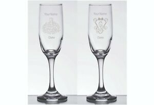 2 Engraved Personalized Customized Bride & Groom Champagne Glasses Flutes