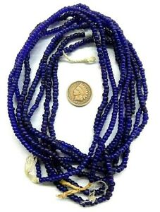 Very Old Venetian Cobalt Blue Pony Beads F&I  Antique Long Strands W2 16