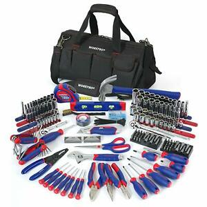 Tool Bag with Full Tool Set Wrenches Sockets Socket Wrench Ratchet Hammer Level $236.97