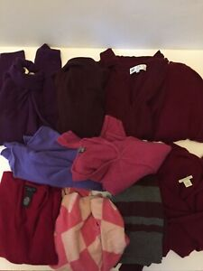 Lot of 10 Sweaters 100% CASHMERE CUTTER Burgundy Purple Craft Upcycle Repurpose