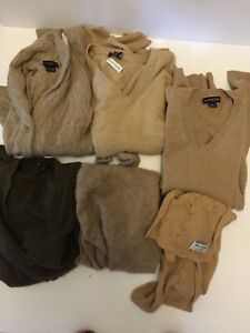 Lot of 7 Sweater 100% CASHMERE CUTTER All Beige Neutral Craft Upcycle Repurpose