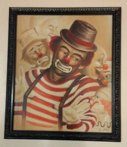 VINTAGE ORIGINAL PAINTING BY W HAWKINS OF CLOWN CLOWNS FRAMED SIZE APROX 27X23 M