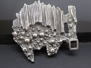 Vintage Robert Larin Canadian Brutalist Pewter Plated Silver Abstract Brooch $55.00