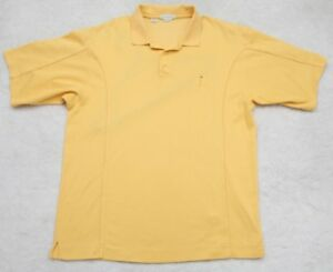 Cutter & Buck Cotton Polyester Yellow Polo Shirt Short Sleeve Large Dry Tec Mens