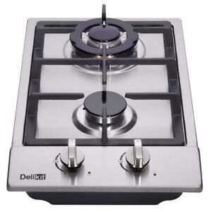 Delikit 1B 12quot; 2 burners gas cooktop gas hob NG LPG dual fuel sealed S.S panel