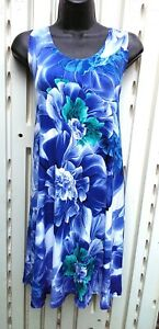 Polyester Blend Wrinkle Free Blue  Tropical Floral Casual Tank Dress Travel  S