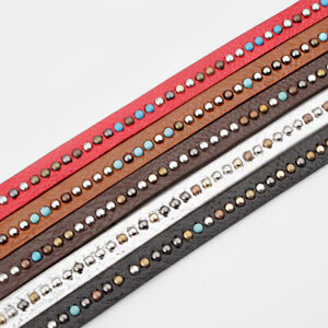 1Meters 10x2mm Colorful Rivet Diamond PU Leather Cord Jewelry Finding $3.99