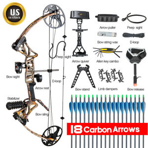 Full Set Compound Bow Kit Right Hand Hunting Arrows Archery Package Topoint M1