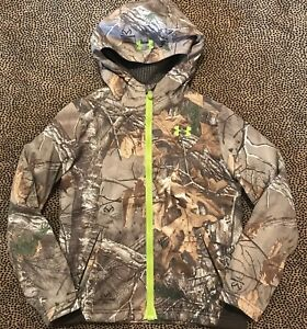 Under Armour Full Zip Hooded Scent Control Raintree Camo Print Size Youth Medium
