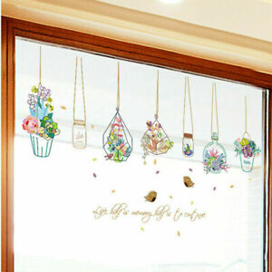 Flowers Potted Plant Wall Stickers Removable Window Decoration Decals Stickers
