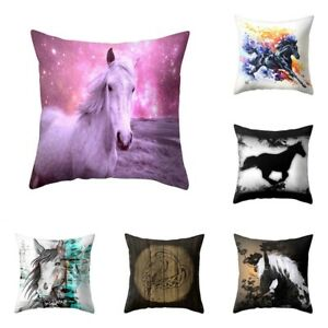 Pillow Case Sofa Home Cover Car BG Cute Print Colorful Horse Prec $2.37