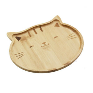 Natural Bamboo Food Snack Plate Tray Kitty Cat Design 4572